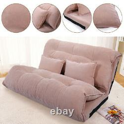 Folding Soft Corduroy Floor Sofa Bed with Pillows Tatami Lazy Lounge Couch Chair
