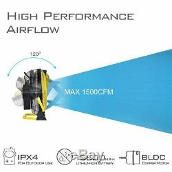 GEEK AIRE Rechargeable Floor Fan 12 Inches Metal Blade Cordless New Model yellow