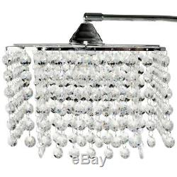 Glam Floor Lamp with Bling Shade Arching Living Room Standing Crystal Chandelier