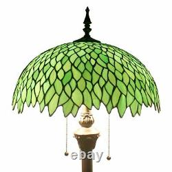 Green Wisteria Tiffany Style Floor Standing Lamp 64 Inch Tall Stained Glass Shad