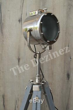 Hollywood Style Retro Grey Adjustable Height English Tripod Floor Lamp Frosted