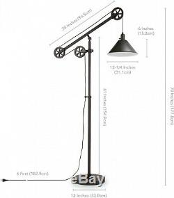 Industrial Pulley Floor Lamp, Adjustable Height, Foot Switch, Black Bell Shade