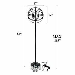 LALUZ Modern Floor Lamp Orb Standing Light Fixture with Crystal Pendant for O