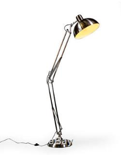 Large Brushed Steel Desk Style Floor Lamp With Black Fabric Flex 190cm High