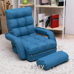Lazy Sofa Bed Adjustable Floor Couch Reclining Chair Lounge Chair with Pillow Blue