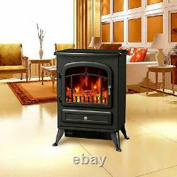 Lenoxx 54cm 1800W Electric Fireplace/Heating Portable Heater with Fire Effect BLK