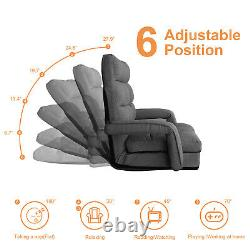 Lounge Folding Lazy Sofa Floor Chair 6-Position Padded with a Pillow Charcoal