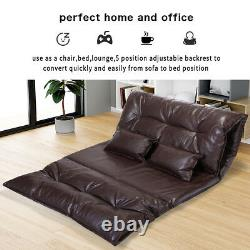 Lounge Sofa Bed Floor Lazy Man Couch with 2 Pillows Adjustable Folding Chaise