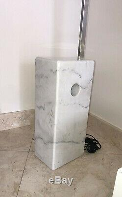 Marble base floor lamp. Stainless steel arch pole. Metal dome shade