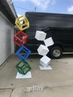 Modern Abstract Metal Cube Outdoor / Indoor Steel Sculpture Garden Art