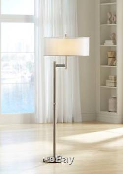 Modern Floor Lamp Brushed Steel Metal Double Shades for Living Room Reading