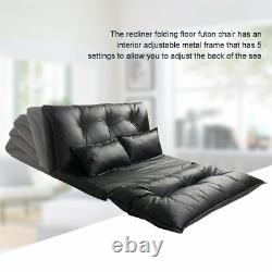 Modern Floor Sofa Bed Adjustable PU Leather Video Gaming Sofa Bed with 2 Pillows