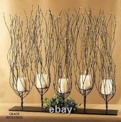 Modern Rustic Tree Branches Twigs Iron Glass Candleholder Candelabra Centerpiece