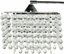 Ore Chrome and Crystal Chandelier Drop Shade Inspirational Arch Floor Lamp