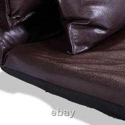 PU Leather Foldable Floor Chair Sofa Bed Video Gaming Lounge with2 Pillows Brown