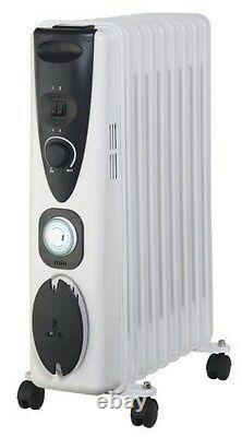 Portable 9 Fin 2000w Electric OIL FILLED RADIATOR Heater With 24 Hour Timer