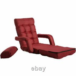 Red Lazy Sofa Bed Adjustable Floor Couch Reclining Chair Lounge Chair with Pillows