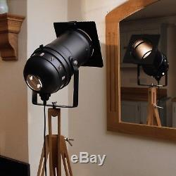 Retro Chic classic theatre/stage light + tripod, stylish floor lamp, black model