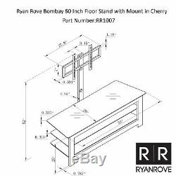 Ryan Rove Bombay 60 Inch Floor Stand with Mount in Cherry Wood