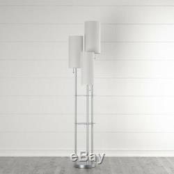 STEEL FLOOR LAMP Trio 68in. Brushed Stainless Linen Metal Cylindrical Pull Chain