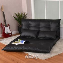 Sofa Bed Floor Faux Leather Black 2 Pillows Folding Fouton Cozy LG Lounge Seat