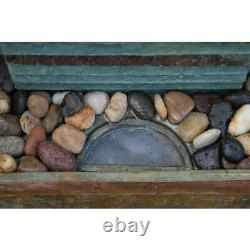 Stave Floor Fountain Resin and Slate Indoor/Outdoor Waterfall Home Oasis Decor
