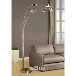 Strick and Bolton Charlie Modern Arched 88-inch Brushed Steel 5-light Floor Lamp