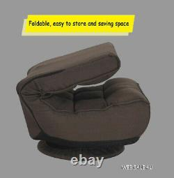 Swivel Gaming Chair Lazy Sofa 360 Adjustable Floor Lounger Folding Couch Brown