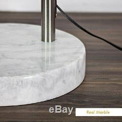 Tall Steel Adjustable Arch Arching Floor Lamp with Marble Base Metal Shade 81''H