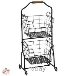 Tiered Basket Stand Fruit And Vegetable Storage Tray Floor Standing Baskets Rack
