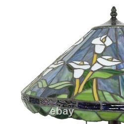 Tiffany Style Stained Glass Lilly Flower Reading Accent Floor Lamp