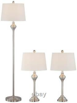 Traditional Table Floor Lamp Set of 3 Brushed Steel for Living Room Bedroom