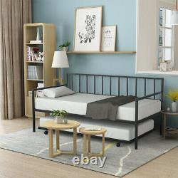 Twin Trundle DayBed with Wheels Durable Mattress Platform Bed Sofa Bedroom Room