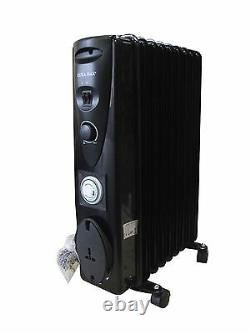Ultramax Freestanding 9 Fin Oil-Filled Radiator 2000W With 24 Hour Timer BLACK