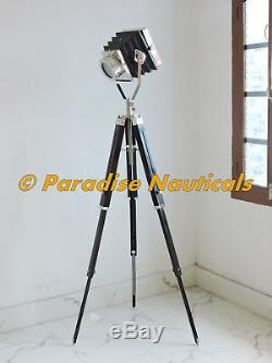 Vintage Industrial Theatre Stage Spotlight Searchlight Tripod Floor Lamp Black