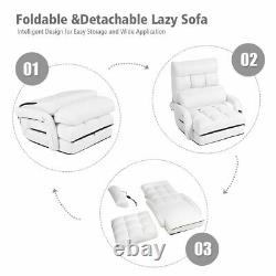 White Folding Lazy Sofa Floor Chair Sofa Lounger Bed with Armrests and Pillow